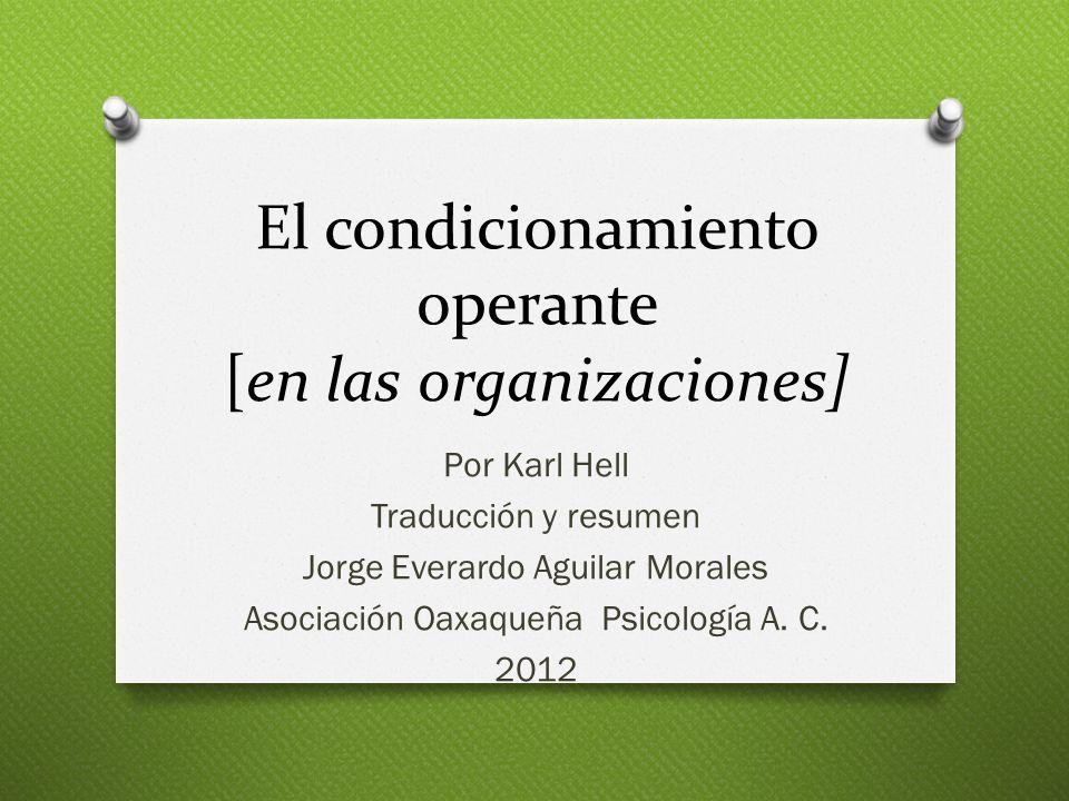 El condicionamiento operante [en las organizaciones]